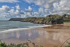 Tides Out (janedoe.notts) Tags: sea seaside seaview seafront seascape cliff cliffwalks clouds sand beach reflection wales southwales nature