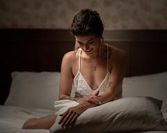 Lea smile (TomPitta) Tags: smile love boudoir sexy white slip pillow