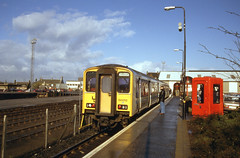Photo of 150 252 2XXX 0936 Bathgate - Edinburgh awaits departure at Bathgate (0930) Wednesday 21st March 1990
