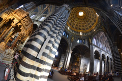 Siena Cathedral, interior (Thomas Roland) Tags: europe europa italy italia italien sommer summer nikon d7000 travel rejse toscana tuscany by stadt town city siena duomo cattedrale church katedral domkirke kirche cathedral wide wideangle fisheye interior ceiling loft up marble dome pillar column søjle