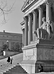 Eternal Vigilance: The National Archives building in Washington, D.C. December 1943. (polkbritton) Tags: estherbubley 1940s fsaowi washingtondchistory vintagefashion libraryofcongresscollections architecture nationalarchives