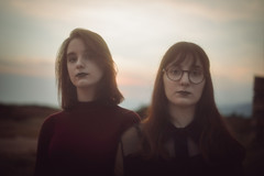 Sad-Fo_50 (SadFo_x1) Tags: portrait people girl girls two sisters twosisters blur bokeh samos remembrance sky sunset light outside art new red crimson black blue dark darkness
