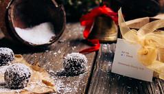 Christmas cookies (Bounty balls) (Inka56) Tags: coconut bounty bell box cookies christmas woodtable sweets lookingcloseonfriday christmasfood balls