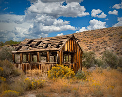 Miners Hut (larwbuck) Tags: architecture autumn building bushes clouds composite fall nevada old sky structure town travel