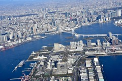 レインボーブリッジ (yuki_alm_misa) Tags: 東京タワー レインボーブリッジ rainbowbridge tokyo tokyobay お台場 東京 東京湾 plane airplane aeroplane aircraft 航空写真 航空機 飛行機