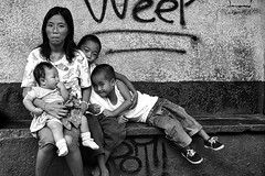 Family Waiting outside school. (Beegee49) Tags: street people family mother children blackandwhite monochrome sony bw bacolod city philippines asia happyplanet asiafavorites