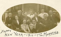 Happy New Year 1911 from the Morgans (Alan Mays) Tags: ephemera postcards realphotopostcards rppc photos photographs foundphotos portraits greetingcards greetings cards newyearcards newyearscards paper printed newyear newyears newyearsday january1 holidays morgan morgans families men women children clothes clothing suits ties bowties neckties dresses maskborders borders frames masked shapes shaped ovals antique old vintage photographicgreetingcards