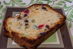 Toasted Yulekake (GoodLifeErik) Tags: yulekake toast bread food closeup christmasfood swedish lookingcloseonfriday candiedfruit