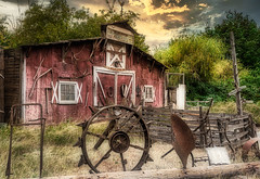 Ye Old Stage Stop (larwbuck) Tags: landscape oregon architecture autumn building cabin clouds fall metal old rural rust structure sunset travel trees wood