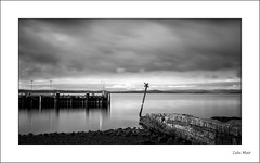 Largs Terminal - (Helios, 28mm, f11) - 2019-12-22nd (colin.mair) Tags: 28mm black helios japanese largs m42 nd10 white beach border f11 ferry filter frame monochrome sea terminal
