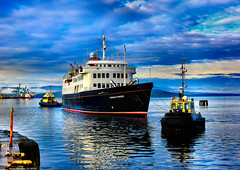 Scotland Greenock being towed to her winter berth the Scottish islands cruise ship Hebridean Princess 24 December 2019 by Anne MacKay (Anne MacKay images of interest & wonder) Tags: scotland greenock towed tug tugs boat boats scottish cruise ship hebridean princess 24 december 2019 picture by anne mackay