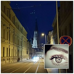 H i d d e n     in the darkness (helen_flow ♡) Tags: words poet mycity musiclover darkness cathedral churchstwenceslas moon myeyes listenmariaaragon♫ ladygaga citycolors citylights night street