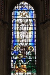 Fact or Fiction (Kevin Pendragon) Tags: stained glass light dark cathedral wells somerset religion figures white blue red green brown halo yellow gold colours hair disciples jesus divine divinity preaching window building large old worship prayer shadow