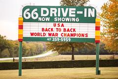 USA Back to Back World War Champions (Thomas Hawk) Tags: 66drivein 66driveintheatre america carthage missouri route66 usa unitedstates unitedstatesofamerica driveintheater neon neonsign theater fav10 fav25 fav50