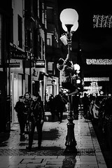 Street light (_<< Mlk_Dahoui >>_) Tags: street light new christmas rain night people nikon nikond750 boy streetlight france europe bw blackandwhite winter city urban picture photo art white black