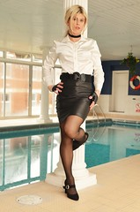 Back in the warm by the pool again (Miss Nina Jay) Tags: leather skirt tights