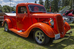 1935 Ford Pickup (Racquel Heron) Tags: truck car vehicle vintage classiccar classic orange ford pickup carshow cars stouffville ontario canada