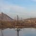 Oil rigs near Baku, seen from the train