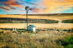 Pump Hut (larwbuck) Tags: birds landscape architecture building clouds colors fence nature rural sky structure summer sunset travel washington windmill