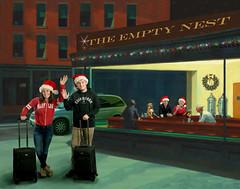 Celebrating Our Empty Nest (YetAnotherLisa) Tags: christmas nighthawk hopper edwardhopper fireball holiday college