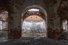 Abandoned Church. (Oleg.A) Tags: ruined autumn arch landscape russia church nature brick overcast evening orange light old exterior destroyed abandoned building tree cathedral forest orthodox countryside architecture ruins wall village desert outdoor catedral arc fall landscapes vladykinsky penzaoblast