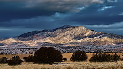 Sunlight, Shadows and Dusting of  Snow on Sierra Negra (LDMcCleary) Tags: sierranegra mountain snow sun shadow abiquiu newmexico clouds darksky