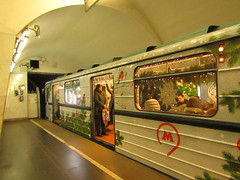 to 2020 by metro :-) (VERUSHKA4) Tags: train metro subway people door window fenetre object metallicobject tunnel tonnel arch winter vue view hiver season decoration canon moscow europe russia floor ceiling bird branch passenger astoundingimage hccity city lights cityscape light