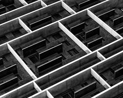 The grid wall (BW version) (jefvandenhoute) Tags: belgium antwerpen merksem light monochrome blackandwhite wall windows grid geometric