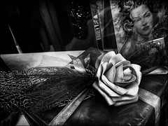 Wonderfull dreams... (Ageeth van Geest) Tags: lookingcloseonfriday ribbons face woman romantic romance dreams dream rose lace blackwhite monochrome blackandwhite bw present desire ageethvangeest gallery pictures