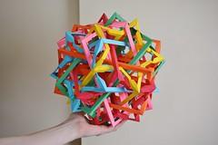 Six Interlocking Pentagrammoidally Distorted Decagonal Prisms (Byriah Loper) (Byriah Loper) Tags: origami origamimodular modularorigami modular compound complex copypaper crease paperfolding paper polygon polyhedron byriahloper byriah geometric