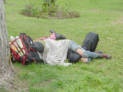 A good rest after a night´s work. (Lewitus) Tags: barranco lima peru sleep street performers