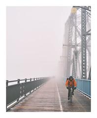 Post Christmas Mood (Dan Haug) Tags: alexandrabridge ontario québec ottawa fog foggy mood afterchristmas cyclist xpro3 xf35mmf14r xf35mm fujifilm fujixseries classicneg filmsimulation mirrorless