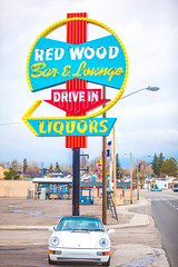 Red Wood Bar and Lounge (Thomas Hawk) Tags: 964 america carrera carrera2 cheyenne grandprixwhite porsche porsche911 porsche911carrera2 porsche911cabrioletc2964 porsche964 redwoodbarlounge scottjordan usa unitedstatesofamerica unitedstates wyoming auto automobile bar car convertible neon neonsign fav10 fav25 fav50