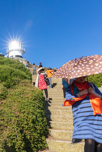 Lady with Umbrella and Lighthouse
