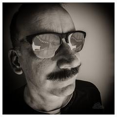 730? (_Matt_T_) Tags: selfie portrait dailyindecember bw wideangle af540fgz apolloorb43 reflection smcpm20mmf40 365 westcott cactusv6 trex sunglassess