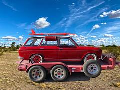 Surf 'n Turf (oybay©) Tags: datsun nissan surfboard surf car automobile stationwagon originalsuv red redwheels carcarrier trailer desert prescott arizona
