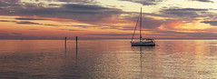 Crossing the Expanse (SteveFrazierPhotography.com) Tags: boat yacht horizon sunset dusk fishing shore clouds channelmarkers waves reflections beautiful serene peaceful waterscape lights navigation motors signs pink blue yellow orange charlotteharbor charlottecounty puntagorda florida fl stevefrazierphotography mast dreamy calm serenity pano panorama evening furled sails sailor wake