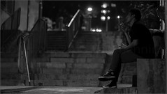 """Smokers on the Steps"" Sheung Wan, Hong Kong, China (December 2019) (Kommie) Tags: sheung wan hong kong china street candid night low light photography bokeh black white monochrome acros fujifilm xt3 fujinon 56mm f12 r"