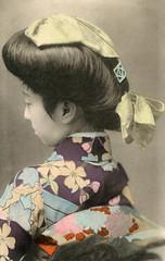 Geigi Teruha - Sokuhatsu Hairstyle 1913 (Blue Ruin 1) Tags: geigi geiko geisha sokuhatsuhairstyle japanese japan handcolouredpostcard taishoperiod 1910s shinbashi shimbashi tokyo teruha