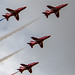 ZOOM ON FOUR OF THE RED ARROWS OVERFLYING