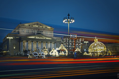 RUS73487 - New Year Mood #3 (rusTsky) Tags: red newyear track lights christmas city moscow skyline cityview theatre road architecture bluehour decoration carnival old street capital travel urban bolshoi