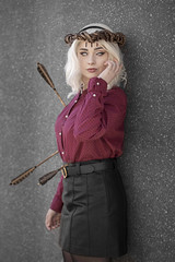 Sabrina Spellman cosplayer at MCM Comic Con London, October 2019 (Gordon.A) Tags: london docklands excel exhibition centre mcm movie comic media mcm2019 convention con festival event creative costume costumes arrow arrows design sabrina spellman teenage witch cosplay cosplayer culture subculture style lifestyle pretty lady woman people face model pose posed posing outdoor outdoors outside wall natural light colour colours color colors amateur portrait portraiture photography digital canon eos 750d sigma 50100mm f18 dc art