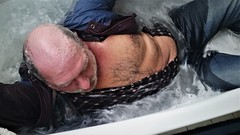 soapy guy (marcostetter) Tags: wetlook wet wetclothes wetclothing fullyclothed bathtub hunk stud hairy chest soapy bath wetpants jeans beard male masculine manly fashion vogue