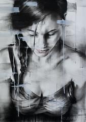 DSC_3392+web (jiri.metod) Tags: girl light mixedmedia monochrome charcoal chalk conte acrylic paper woman bw
