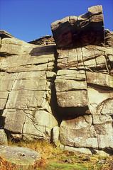 millstone grit (Ron Layters) Tags: stanage highneb crag gritstone millstonegrit rockclimbing buttress gritstoneedge overhang hopevalley peaknationalpark highpeak peakdistrict hathersage derbyshire england unitedkingdom leica r62 leicar62 slidefilmthenscanned slide transparency fujichrome velvia ronlayters explored explore interesting highestpositioninexplore52onsundaydecember292019 5k 10k