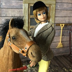 Feeding Merry Belle (Foxy Belle) Tags: doll barn horse vintage diorama scene hay wooden 16 scale playscale barbie foal clover brown flocked black mane american girl riding park 1600 boots equestrian stable feed