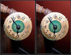 Gas Powered Clock (Stereo) (Tom.Bentz) Tags: stereo 3d crossview clocks steampunk
