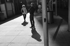 Shadows at Penn Plaza (Zach K) Tags: penn plaza shadows harsh light sunlight street photograph streetphotography pennplaza nyc midtown westmidtown black white bw candid fuji fujilfilm xpro2