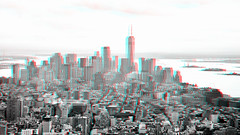 New York view from Empire State 3D (wim hoppenbrouwers) Tags: new york view from empire state 3d anaglyph stereo redcyan nikond600 2485nikkor bw d600