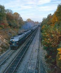 Westbound #5 (DJ Witty) Tags: dieselelectriclocomotive photography bo metropolitansubdivision railroad rr emd e8 passengertrain georgetownjct kodachrome baltimoreohiorailroad